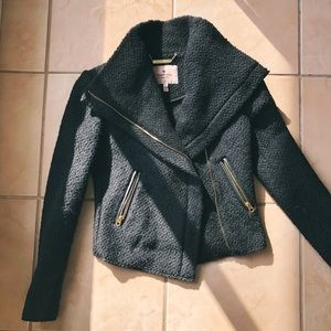 Black wool petite coat